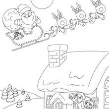 Desenho de crianças se despedindo do Papai Noel para colorir