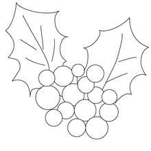 Desenho para colorir de um azevinho de Natal