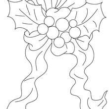 Desenho de um enfeite de Natal com azevinho para colorir