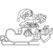 Desenho do trenó do Papai Noel com presentes para colorir
