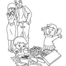 Desenho para colorir de pais e filhos no Natal