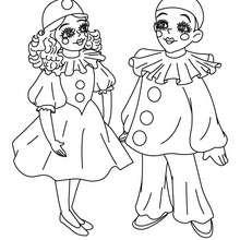 Desenho da COLOMBINA E PIERROT  para colorir