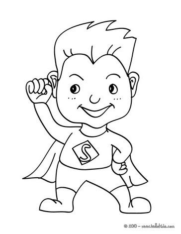 Desenho de uma criança fantasiada de super herói para colorir