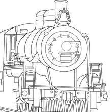Desenho para colorir de um antigo trem a vapor