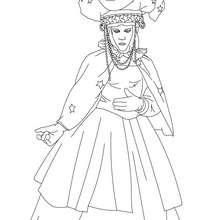 Desenho de uma fantasia de cortesã para colorir