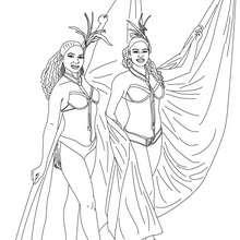 Desenho para colorir das fantasias das escolas de sambra