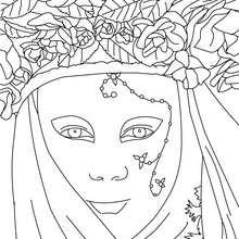 Desenho de uma máscara veneziana para colorir