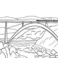 Desenho de um trem de alta velocidade atravessando uma ponte moderna para colorir