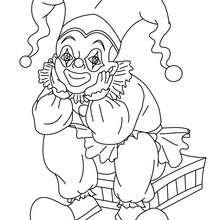 Desenho do CORINGA sentado para colorir