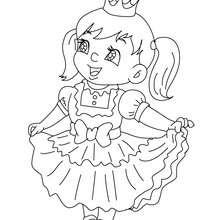 Desenho para colorir de uma fantasia de PRINCESA para crianças