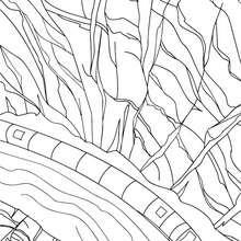 Desenho de um trem de alta velocidade passando por um desfiladeiro para colorir