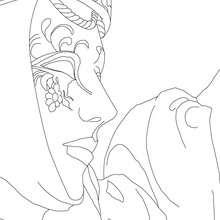 Desenho de uma máscara veneziana de perfil para colorir