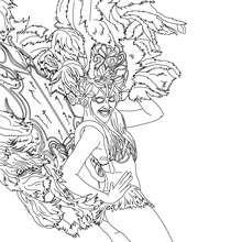 Desenho de uma Carioca Sambando no Carnaval do Rio para colorir
