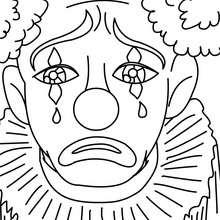 Desenho de um palhaço triste para colorir