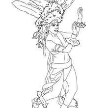 Desenho para colorir de uma mulher desfilando para uma escola de sambra
