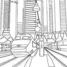 Desenho de um trem de alta velocidade passando por prédios para colorir