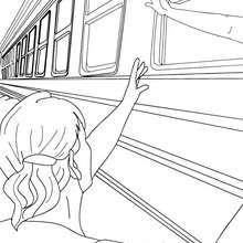 Desenho para colorir de um trem com pessoas acenando dentro
