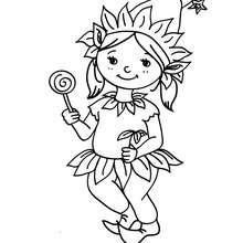 Desenho para colorir de uma fantasia de DUENDE para o CARNAVAL
