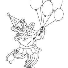 Desenho de um palhaço com balões para colorir