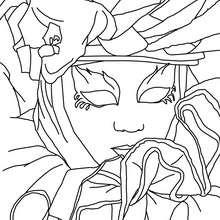 Desenho de uma máscara veneziana com um traje para colorir
