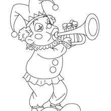 Desenho do CORINGA com um trompete para colorir