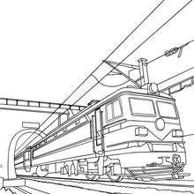 Desenho para colorir de um trem elétrico antigo saindo do túnel