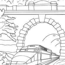 Desenho para colorir online de um trem de alta velocidade saindo de um túnel