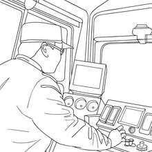 Desenho para colorir online de um condutor de trem conduzindo um trem elétrico