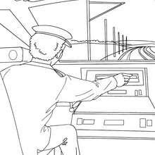 Desenho para colorir online de um condutor de trem de alta velocidade conduzindo