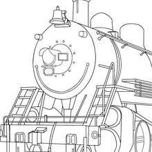 Desenho de uma locomotiva a vapor antiga para colorir
