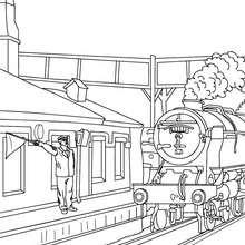 Desenho do Agente da estação de trem que apitando para a partida do trem antigo para colorir