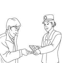 Desenho de um controlador de bilhetes verificando os passageiros para colorir