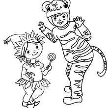 Desenho para colorir de fantasias de TIGRE E DUENDE para CRIANÇAS