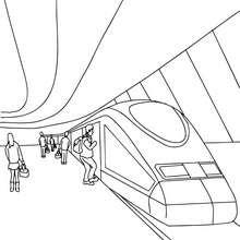 Desenho de uma estação de trem com os passageiros no cais para colorir