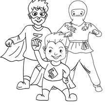 Desenho para colorir de fantasias para o CARNAVAL de SUPER-HERÓIS