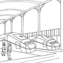 Desenho de uma estação de trem para colorir