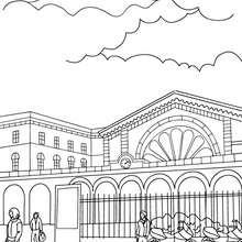 Desenho de uma estação de trem por fora para colorir