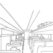 Desenho de passageiros sentados em um trem de alta velocidade para colorir