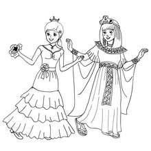 Desenho para colorir de fantasias de MENINAS para o CARNAVAL