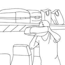 Desenho de passageiros pegando suas malas para colorir