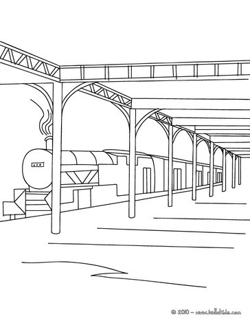 Desenho do hall de uma estação de trem para colorir