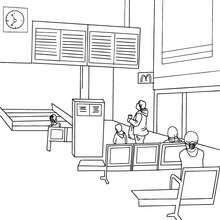 Desenho do hall moderno de uma estação de trem para colorir