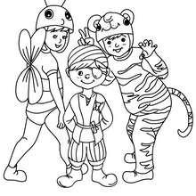 Desenho de fantasias de PIRATA, ABELHA E TIGRE do CARNAVAL para colorir