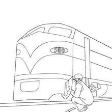 Desenho de um mecânico concertando um trem elétrico para colorir