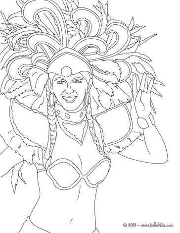 Desenho de uma mulher no desfile de samba para colorir