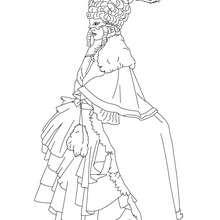 Desenho de um traje de princesa de Veneza para colorir