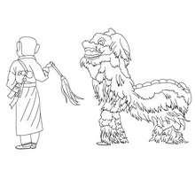 Desenho de um dragão no desfile do ano novo chinês para colorir