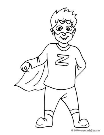 Desenho para colorir de uma fantasia para o CARNAVAL de SUPER-HERÓI