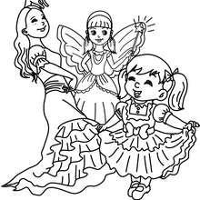 Desenho para colorir de fantasias de PRINCESAS para o CARNAVAL