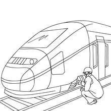 Desenho de um mecânico concertando um trem de alta velocidade para colorir